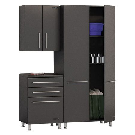 Perfect for transforming your garage into an organized workspace or stowing outdoor accessories, this storage system showcases a jumbo cabinet, 3-drawer ches...