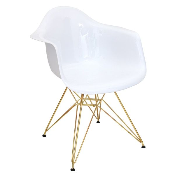 Mid Century Modern Neo Flair Accent Chair In White And Gold