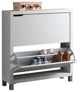 Baxton Studio Simms White Modern Shoe Cabinet