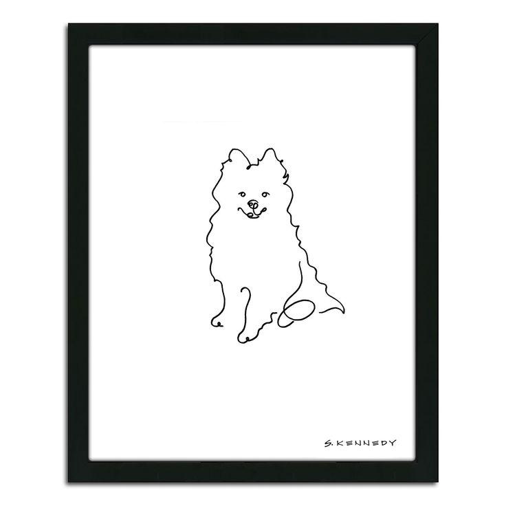 Pomeranian Line Drawing Framed Wall Art Line Drawing Drawing Frames Dog Wall Art