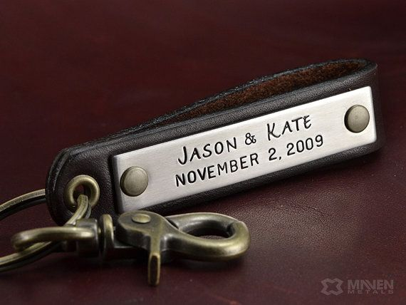 Personalized Leather Key Chain - Anniversary Gift, Personalized Wedding Gift, Groomsmen Gift, Valentines Gift