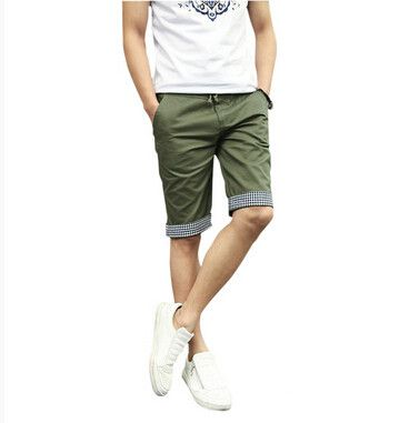 FS Hot 2016 Men Shorts Plaid Ruched Casual Dress Cotton Slim Fit Shorts