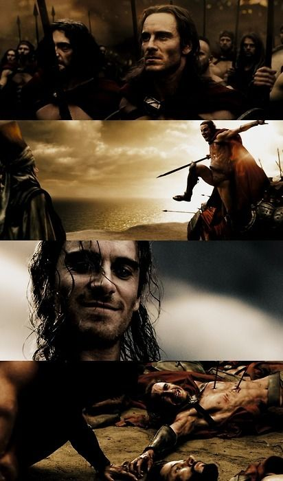 "Michael Fassbender, ""300"" -- beautiful death he said. :-)"