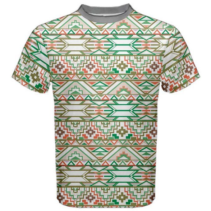 Gray Abstract Geometric Aztec Colorful Pattern Men's Sport Mesh Tee