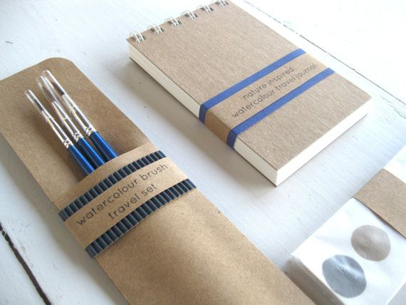 Original DIY Pocket Sized Watercolour Paint and Art Journal Sketchbook Travel Set Indie Nature Lovers Eco Valentines Day Gift Ideas Unisex op Etsy, 18,39 €