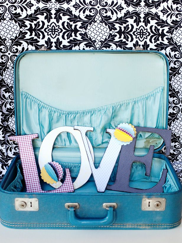 Easy-to-Create Letter Display : Decorating : Home & Garden Television: Bathroom Design, Decor Ideas, Old Suitca, Wood Letters, Letters Crafts, Valentines Day Crafts, Wooden Letters, Valentines Day Gifts, Love Letters