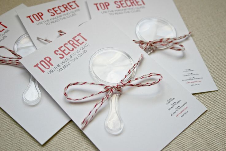 cute top secret invites ...would be cute for detective party, or treasure hunt