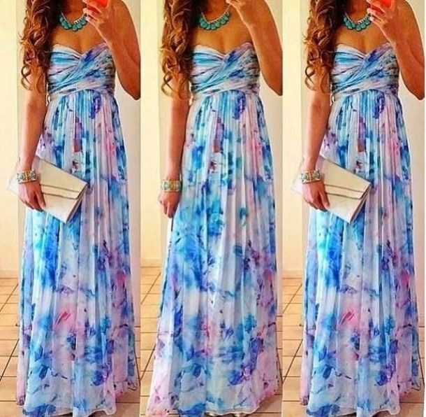 dress maxi dress white blue and purple floral strapless dress beautiful maxi