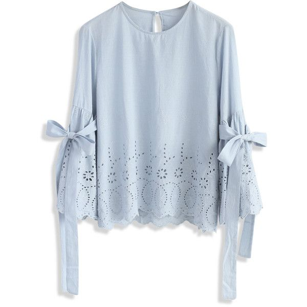 Chicwish I Feel Delight Embroidered Top with Bell Sleeves (£28) ❤ liked on Polyvore featuring tops, blouses, blue, scallop edge top, flared sleeve top, fancy tops, blue top and embroidery blouses
