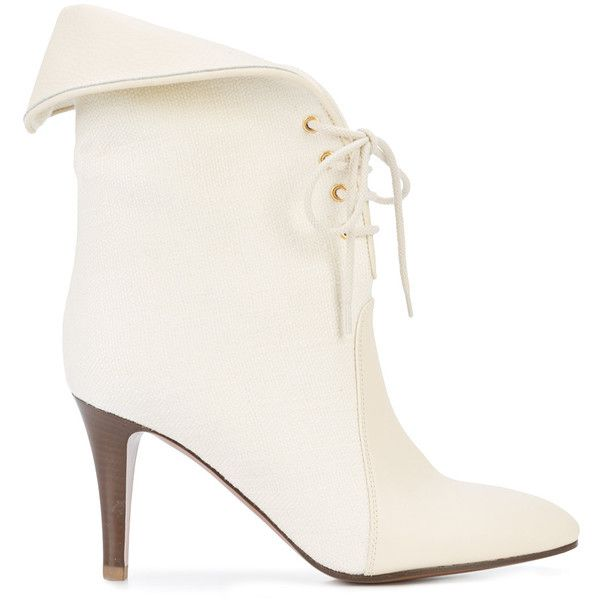 Chloé foldover top ankle boots ($1,405) ❤ liked on Polyvore featuring shoes, boots, ankle booties, white, white booties, lace-up ankle booties, leather lace up booties, stiletto booties and leather bootie