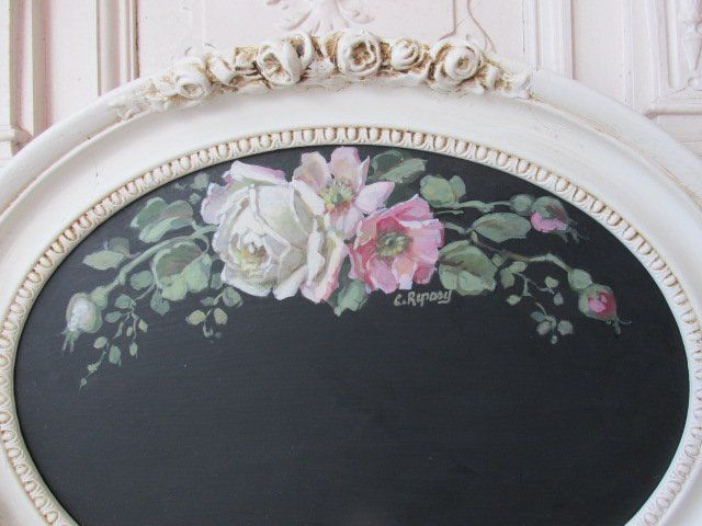 OMG ORIGINAL Christie REPASY PAINTING WHITE ROSES on BLACK CHALK BOARD Gesso Fr