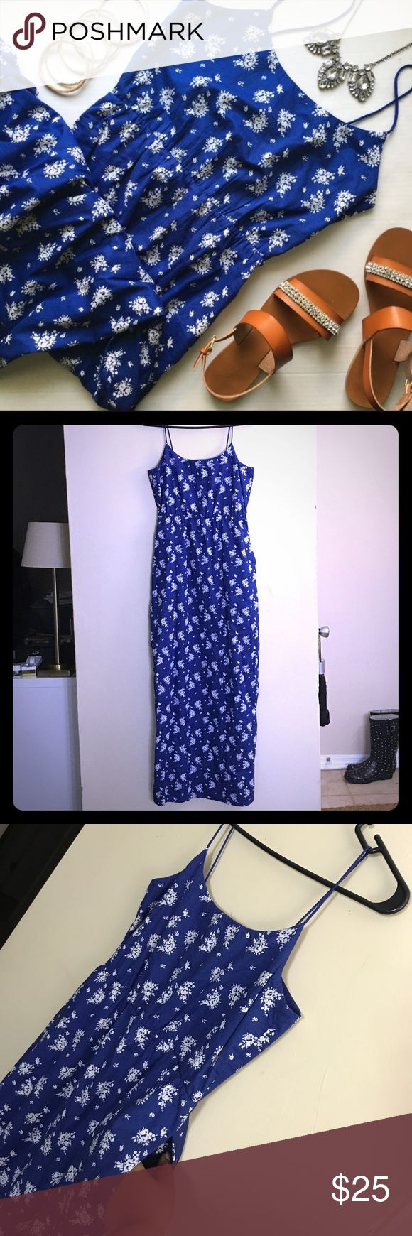 J.CREW FACTORY Blue/White maxi dress with pockets! Blue and white floral printed maxi dress from J. CREW FACTORY with spaghetti straps, a back zipper, and pockets! Worn rarely. J. Crew Factory Dresses Maxi