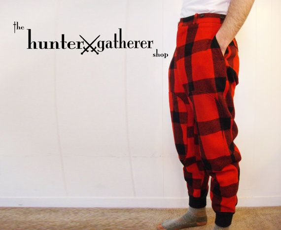 Vintage Red Tartan Plaid Wool Hunting Pants by TheHunterGatherer, $42.00