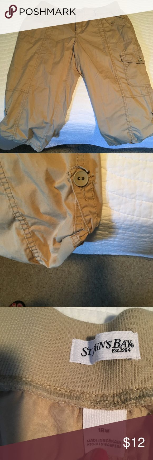 St. John's Bay 18W khaki Capri's These Khaki Capri's have an adjustable leg. St Johns Bay Pants Ankle & Cropped