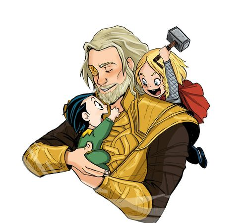 Too freakin' cute! Odin with baby Loki and Thor. I love this. I hate all the ones showing Odin being a crappy father to Loki because he loves him just as much as Thor. There wasn't a favorite. He's the All Father. <----that is perfect