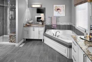 Contemporary Master Bathroom with Choose Frameless Pivot Hinge Shower Door Configurations, Flat panel cabinets, Ceramic Tile