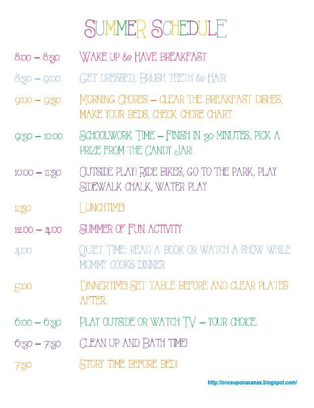 Staying organized over summer break! FREE summer schedule printable!