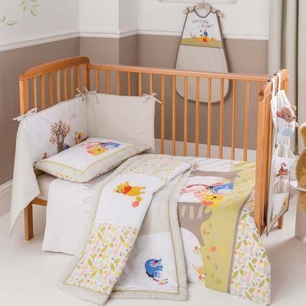 Disney Light Brown Winnie the Pooh Nursery Cot Duvet Cover and Pillowcase Set