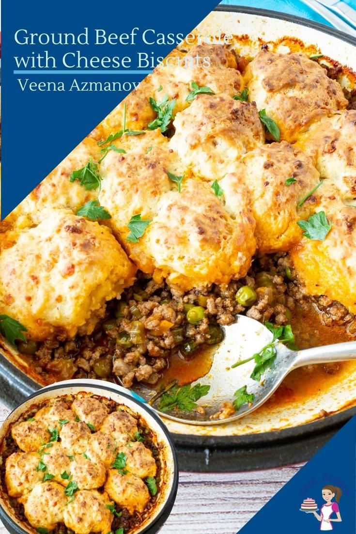 This Ground Beef Topped With Biscuits Is A One Pot Comfort Food Classic Perfect For Cooler Evenings In 2020 Ground Beef Casserole Beef Casserole Baked Dishes