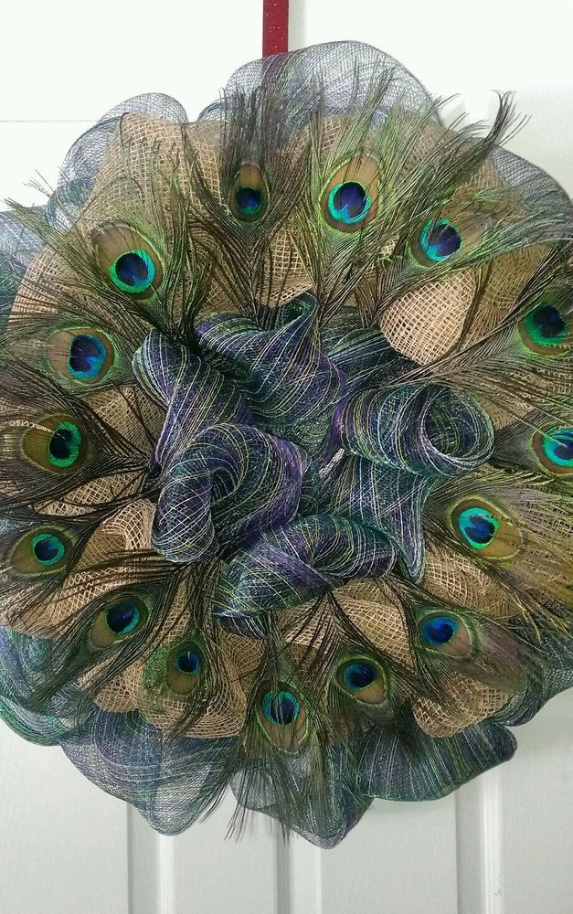 Exotic Peacock Themed Multi-Colored Deco Mesh Wreath Accented in Burlap Mesh #DecoMesh