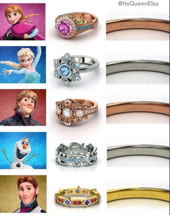 Frozen inspired engagement rings. I really like Olafs.