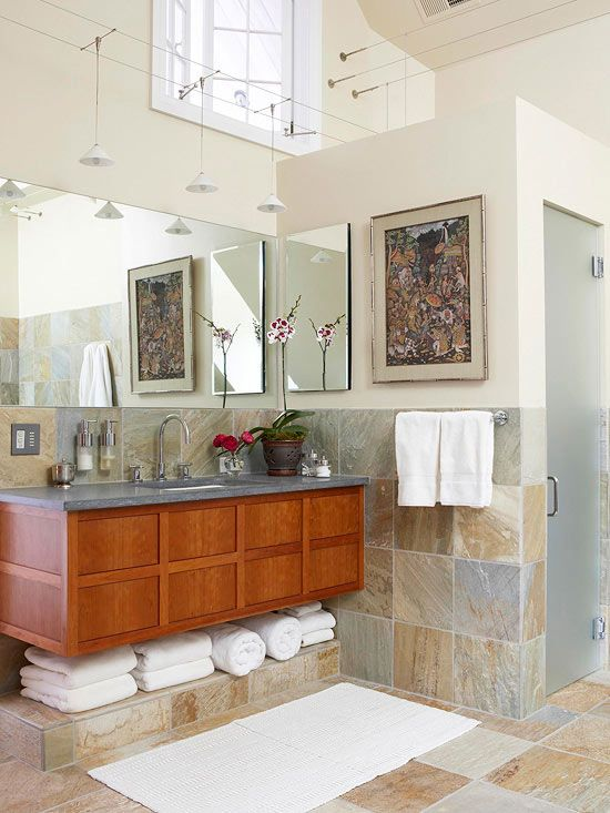 unique style bathroom with linen storage space under the sink via better homes and gardens - Better Homes And Gardens Bathrooms