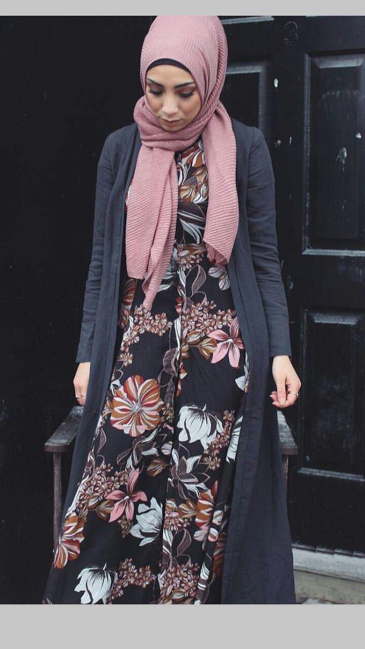 Floral dress, black cardi, mauve hijab - check out: Esma <3