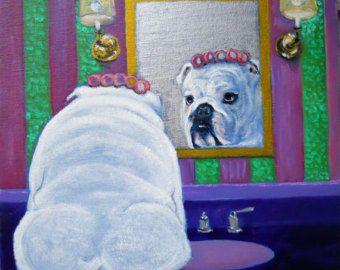 Bulldog Inglés impresión del arte de una pintura al por dogwagart
