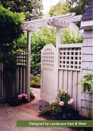this elegant gate creates a warm entrance into the back yard landscape east u0026 west