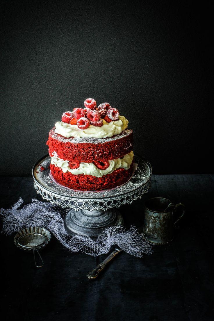 Red Velvet Cake with Raspberries & Cream