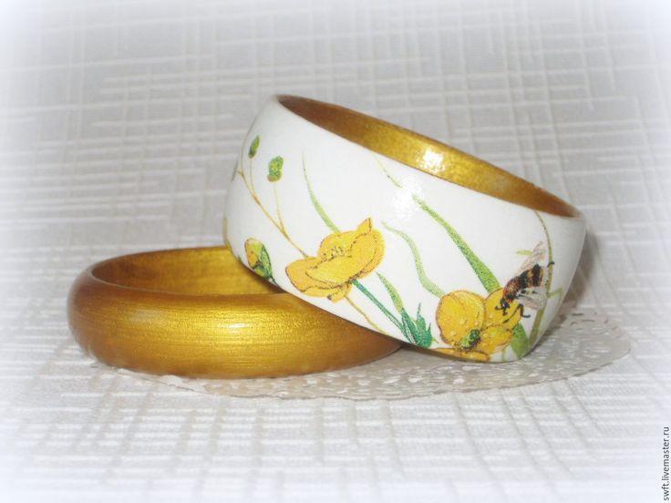 Купить Пара браслетов из дерева Золотые лютики. Белый, желтый, дерево декупаж - Декупаж
