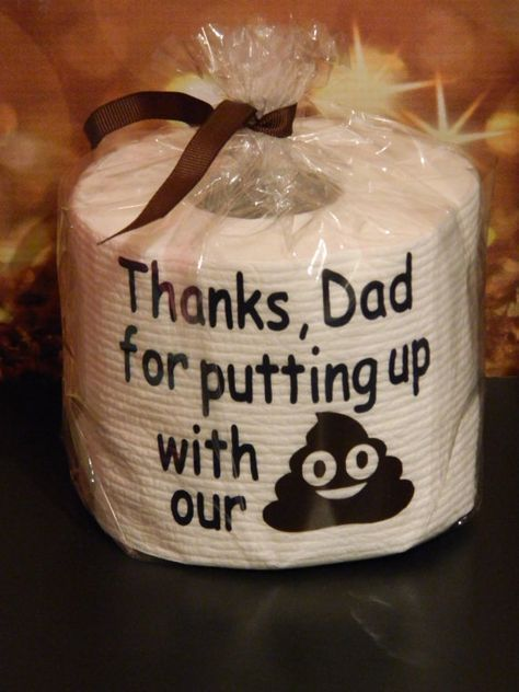 Need a funny gift for a male?? Our personalized toilet paper rolls are perfect. These are perfect for Fathers Day, Birthdays, Anniversaries, Christmas, Bosses Gift, etc. We can customize the lettering for any occasion. If wanting text different than Dad, please enter in the notes section at checkout. Each roll comes wrapped in clear wrap tied with a small ribbon. This listing is for just one roll. ********************************************* For additional information, please read our…