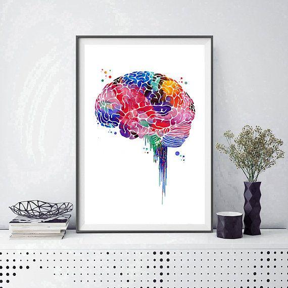 Lobi poster di cervello anatomia stampa acquerello arte del