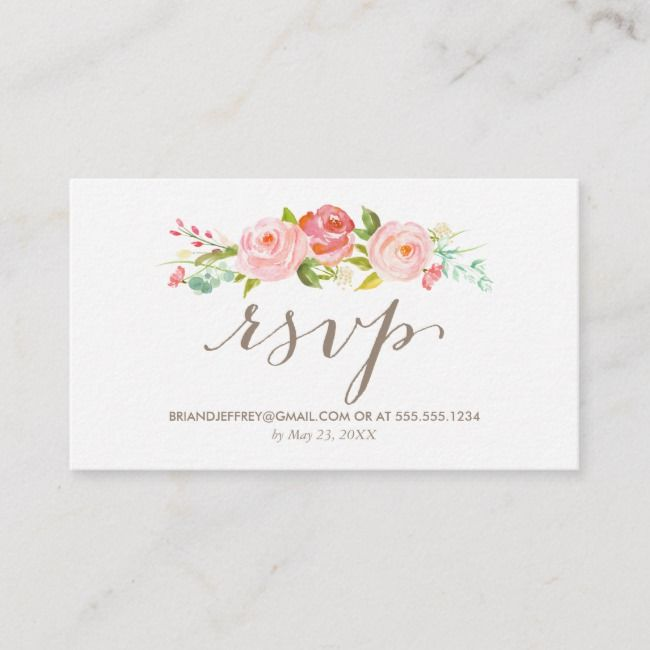 Email Wedding Invitation: Rose Garden Floral Wedding Email RSVP Enclosure Card