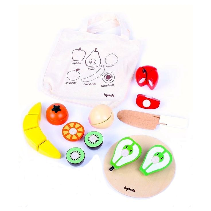Made from quality wooden and non toxic paint, your kids wil love playing with this Wooden Play Fruit Set w/ Carry Bag.Each fruit piece in this play food set is segmented and held together by velcro allowing your kids to cut everything up, using the...