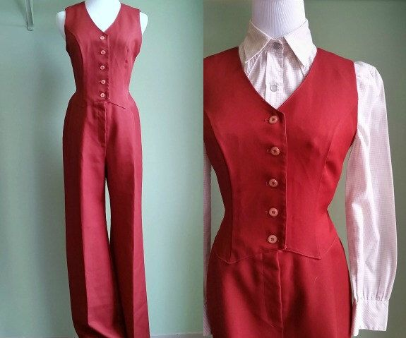 1960s Burnt Orange Jumpsuit - Button Front Tailored Pantsuit - XS/S by LittleGhostVintage on Etsy https://www.etsy.com/listing/261347920/1960s-burnt-orange-jumpsuit-button-front