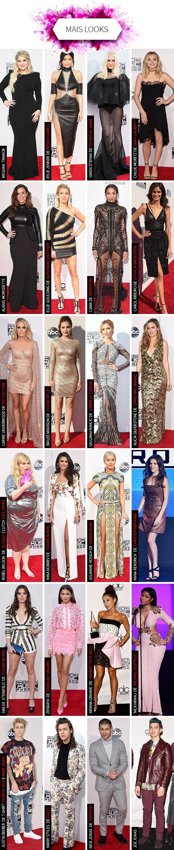 Looks de Kylie Jenner, Gwen Stefani, Ariana Grande e mais famosas no American Music Awards | AMA's red carpet best looks