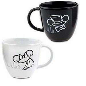 Disney Coffee Cup Mug Set - Wedding Minnie and Mickey Mouse