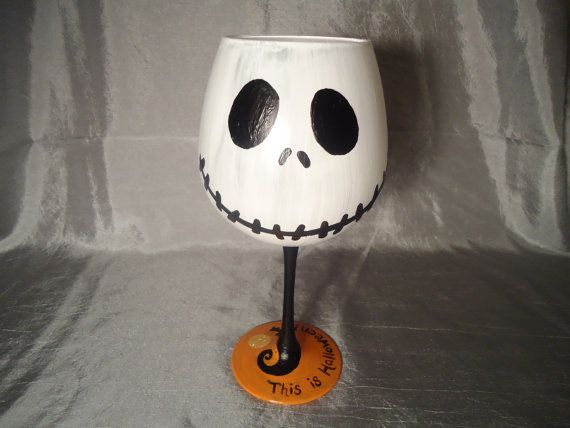 This is Halloween Hand Painted Wine Glass by SipHappy