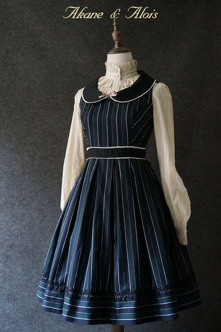 Akane&Alois 「理想国」 色织条纹背心裙-淘宝网