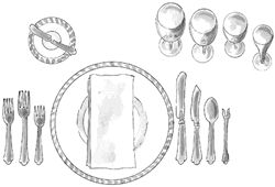 For a formal setting, the one rule is for everything to be geometrically spaced: the centerpiece at the exact center; the place settings at equal distances; and the utensils balanced. The blades of the knives are turned toward the plate. Glasses are placed an inch or so above the knives, also in the order of use: white wine, red wine, dessert wine, and water tumbler.