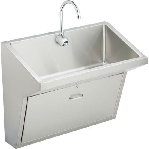 Elkay EWSFAD13620SACC 36 Single Basin Wall Mounted Stainless Steel (Silver) Kitchen Sink with Commercial Faucet - Includes Drain