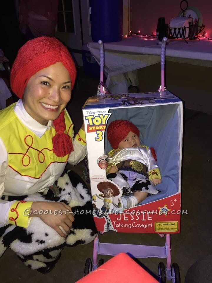 Cool Mom and Baby Costume: Toy Story Jessie Doll in Box Costume... Coolest Halloween Costume Contest