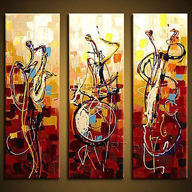 handgeschilderde kunst aan de muur abstrac home decor play instrumenten olieverf op doek 3pcs / set zonder frame – EUR € 49.99