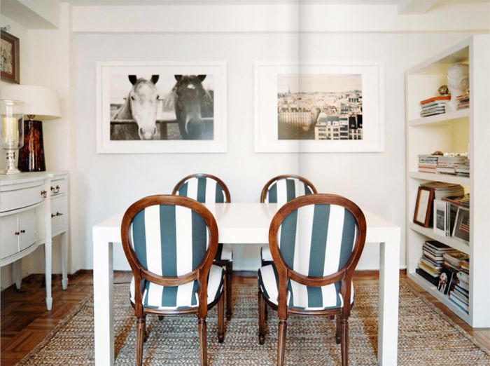 Great Michelle Adams Dining Room Parsons Table Stripe Navy White Louis Ballard  Designs Chairs