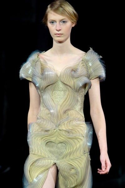 A model wears a creation by Dutch fashion designer Iris van Herpen as part of her Women's Spring Summer 2012 Haute Couture fashion collection presented in Paris