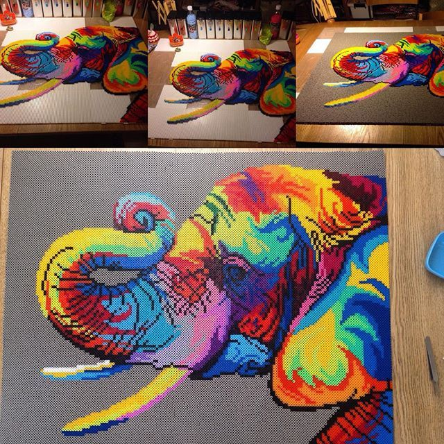 Colorful elephant hama/nabbi beads by janne.gerner