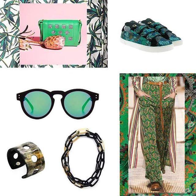 [ 🌿 MUST HAVE GREENERY 🌿 ]  Chez nous, le Printemps est synonyme des fleurs, du beau temps, de la nature, et donc tout naturellement du VERT : ça tombe bien, Pantone a élu la couleur Greenery comme couleur officielle de l'année 2017 !  Voici donc une petite sélection de must have Femme Greenery, pour tous les rendre verts de jalousie ;) Sac : From Paris to by Floriane Fosso Baskets : TWINS FOR PEACE Pantalon : ETRO Lunettes : Komono Manchette et sautoir : L'Artisan Créateur  #fashionstyle…