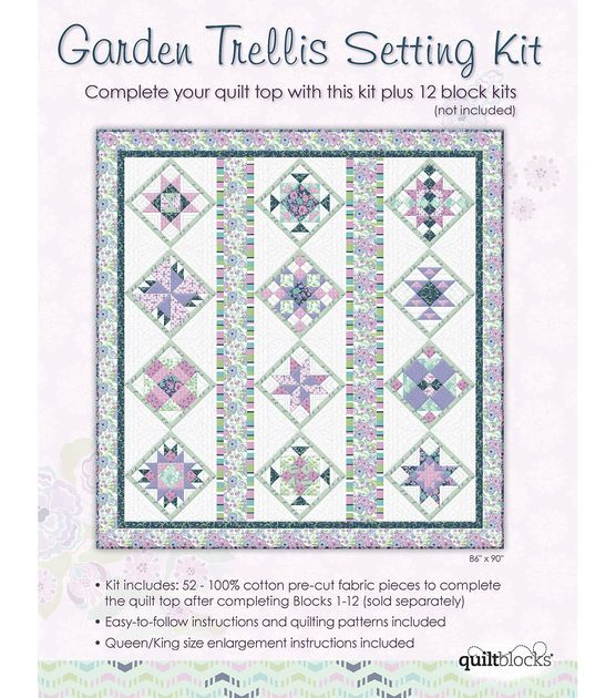 Quilt block of the month cotton fabric garden trellis for Garden trellis designs quilt patterns