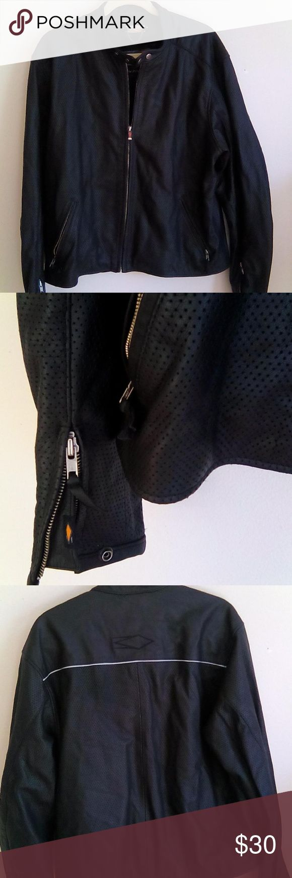 """Power Trip Motorcycle Jacket  Leather Black L Like new condition. Power trip black leather motorcycle jacket. perforated leather style. 3M Scotchlite reflective material also. zipper front close and sleeves. tag size large. chest-48"""" shoulder to shoulder-20"""" length- 24"""" Power Trip Jackets & Coats Performance Jackets"""